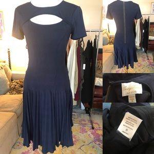 Tracy Reese pleated navy dress size medium